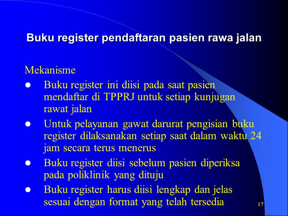 Buku register pendaftaran pasien rawa jalan