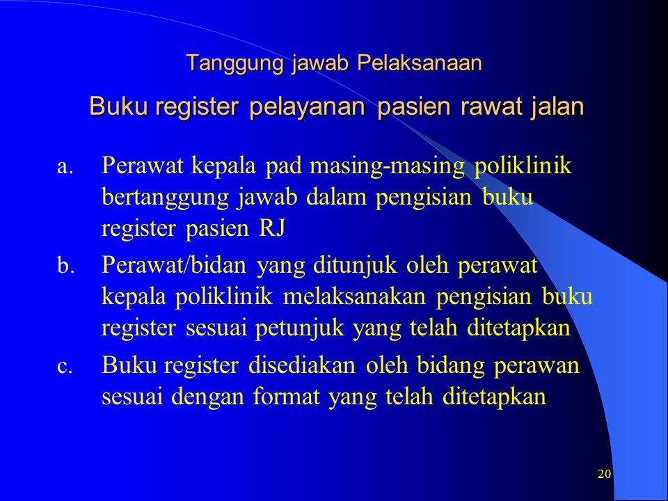 Tanggung jawab Pelaksanaan Buku register pelayanan pasien rawat jalan