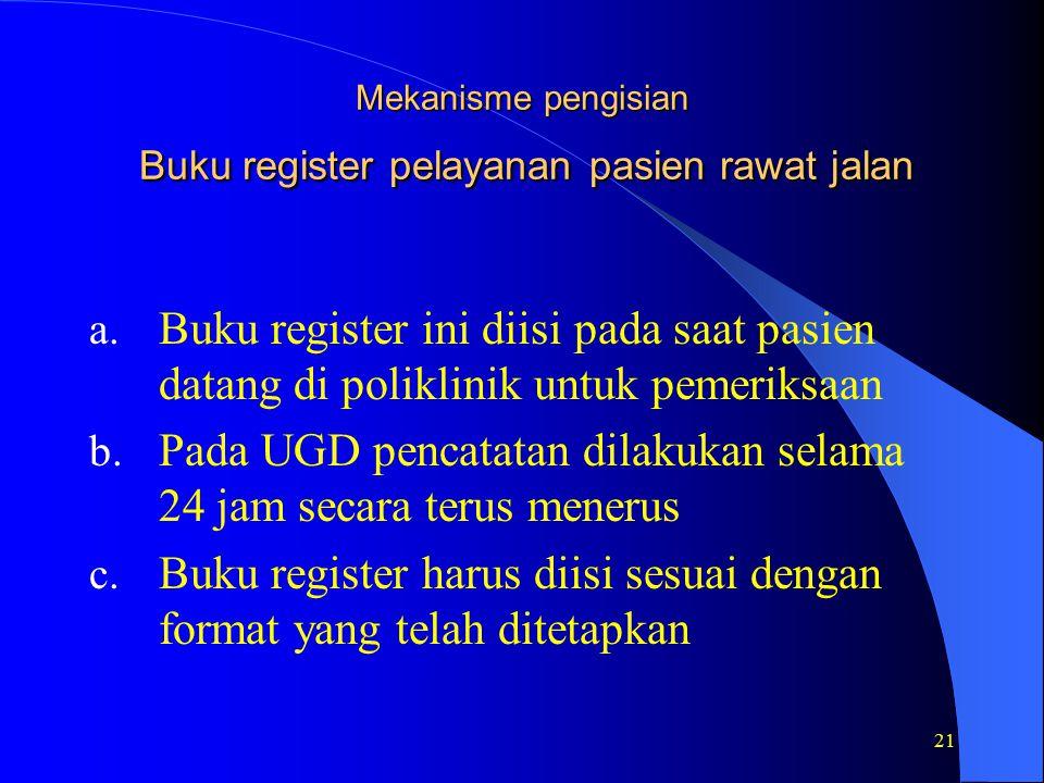 Mekanisme pengisian Buku register pelayanan pasien rawat jalan