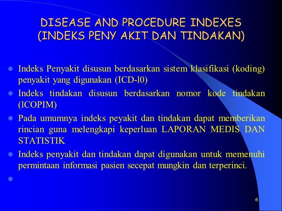 DISEASE AND PROCEDURE INDEXES (INDEKS PENY AKIT DAN TINDAKAN)