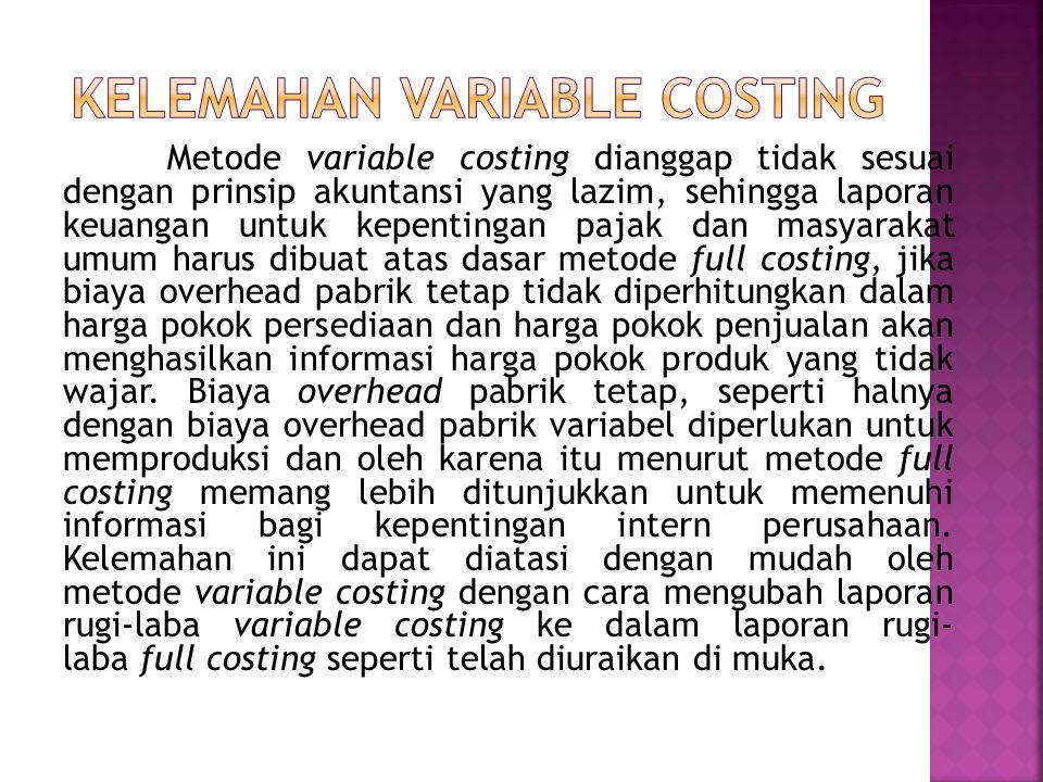 KELEMAHAN VARIABLE COSTING