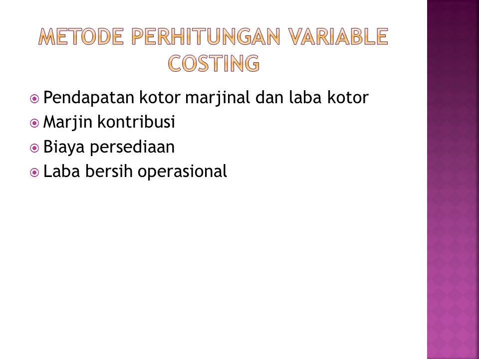 METODE PERHITUNGAN VARIABLE COSTING