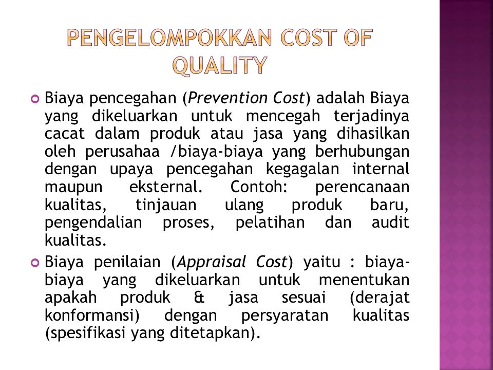 Pengelompokkan cost of quality