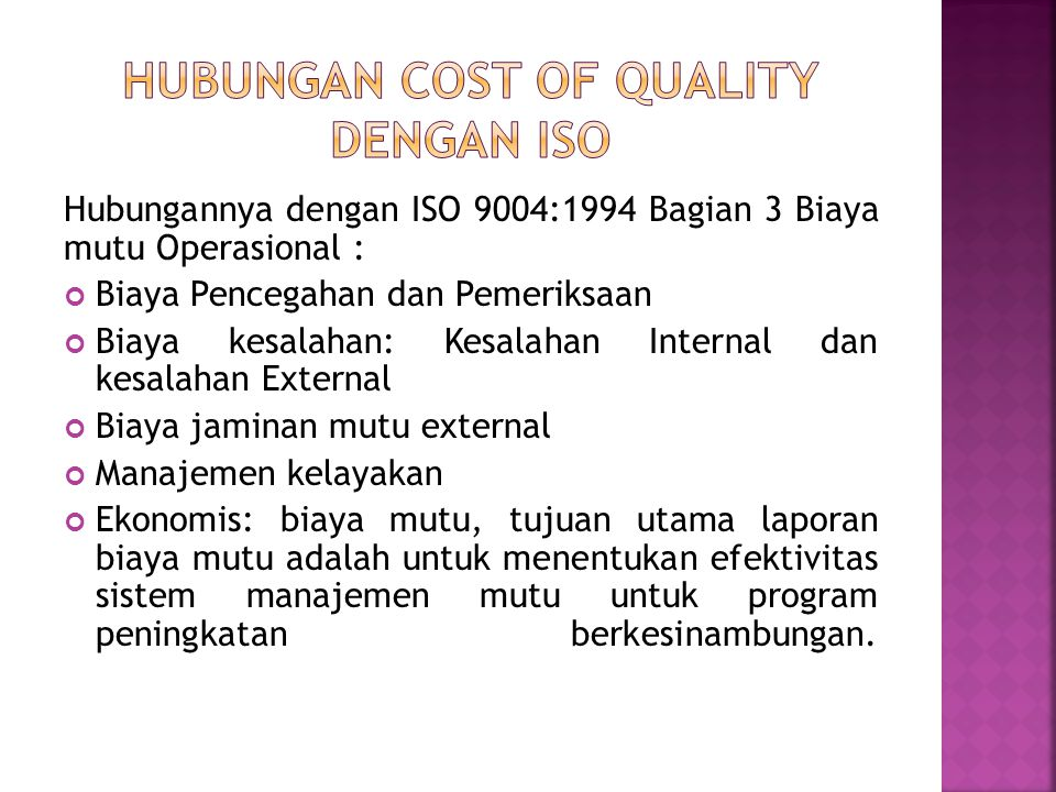 Hubungan Cost of Quality Dengan ISO