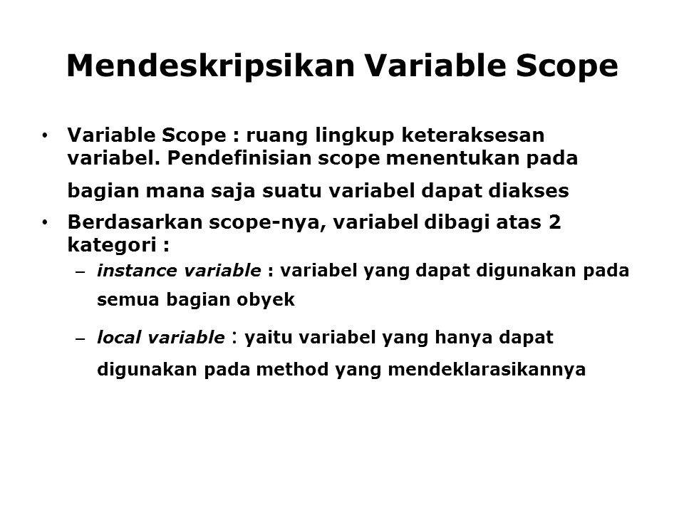 Mendeskripsikan Variable Scope
