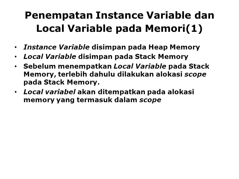 Penempatan Instance Variable dan Local Variable pada Memori(1)