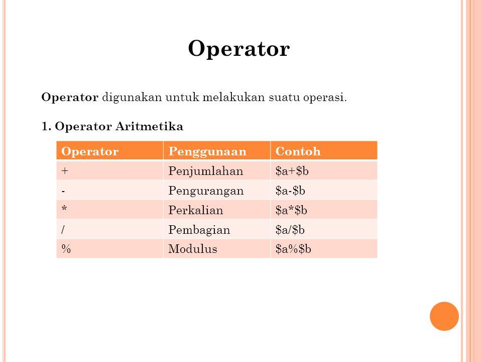 Operator Operator digunakan untuk melakukan suatu operasi.