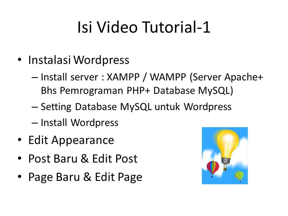 Isi Video Tutorial-1 Instalasi Wordpress Edit Appearance