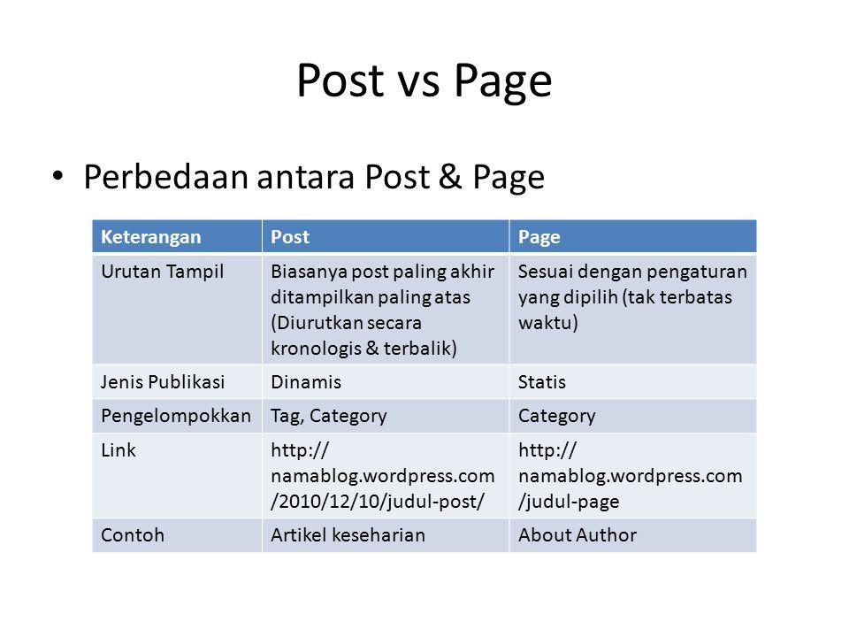 Post vs Page Perbedaan antara Post & Page Keterangan Post Page