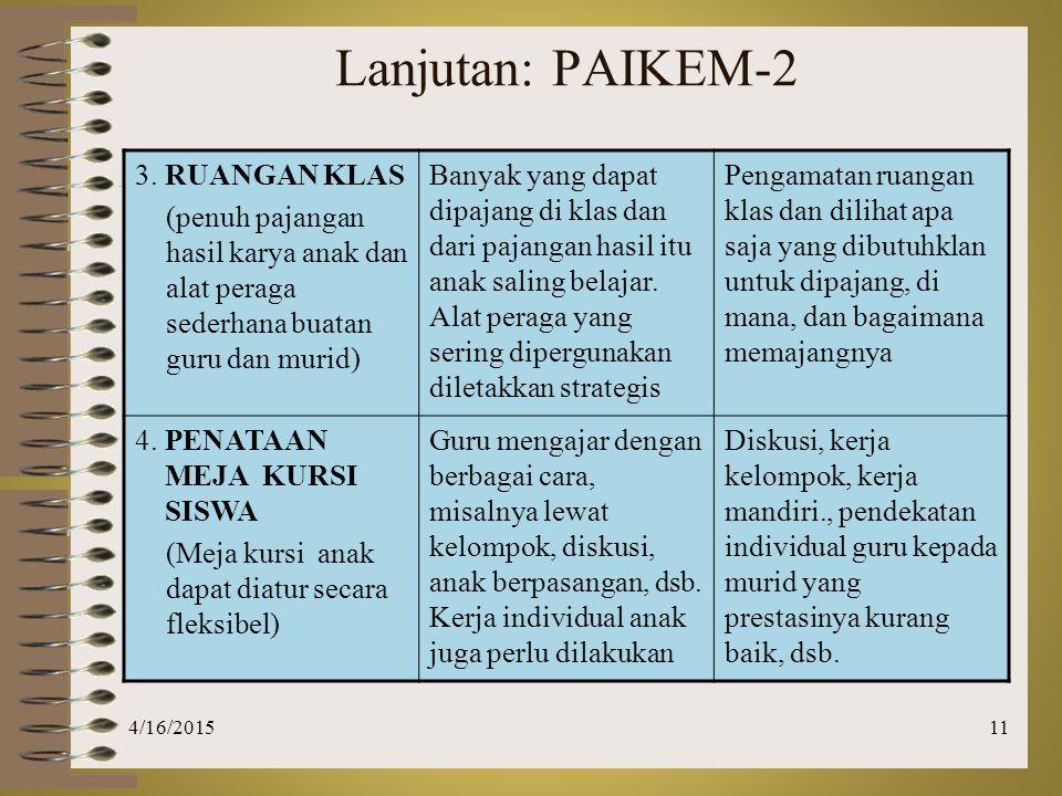 Lanjutan: PAIKEM-2 3. RUANGAN KLAS