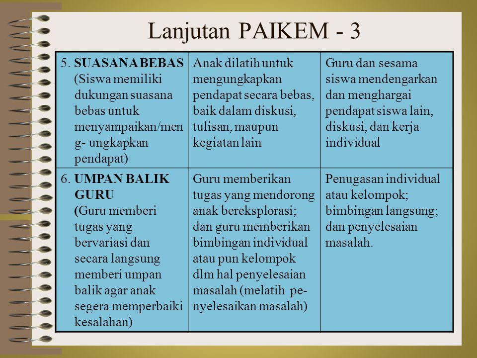 Lanjutan PAIKEM - 3 5. SUASANA BEBAS