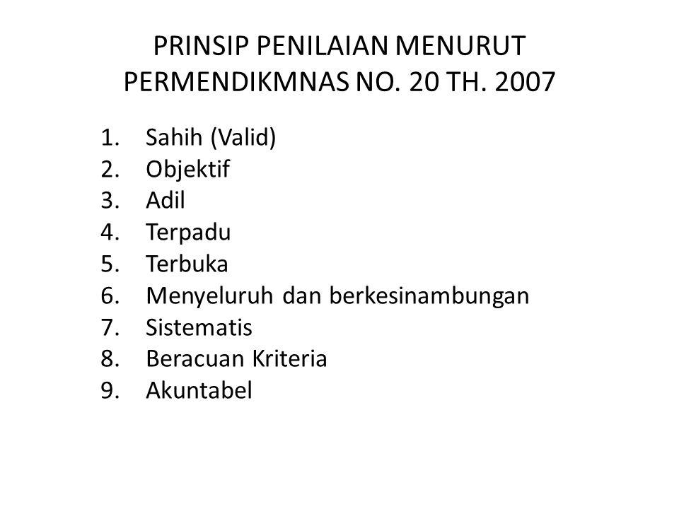 PRINSIP PENILAIAN MENURUT PERMENDIKMNAS NO. 20 TH. 2007