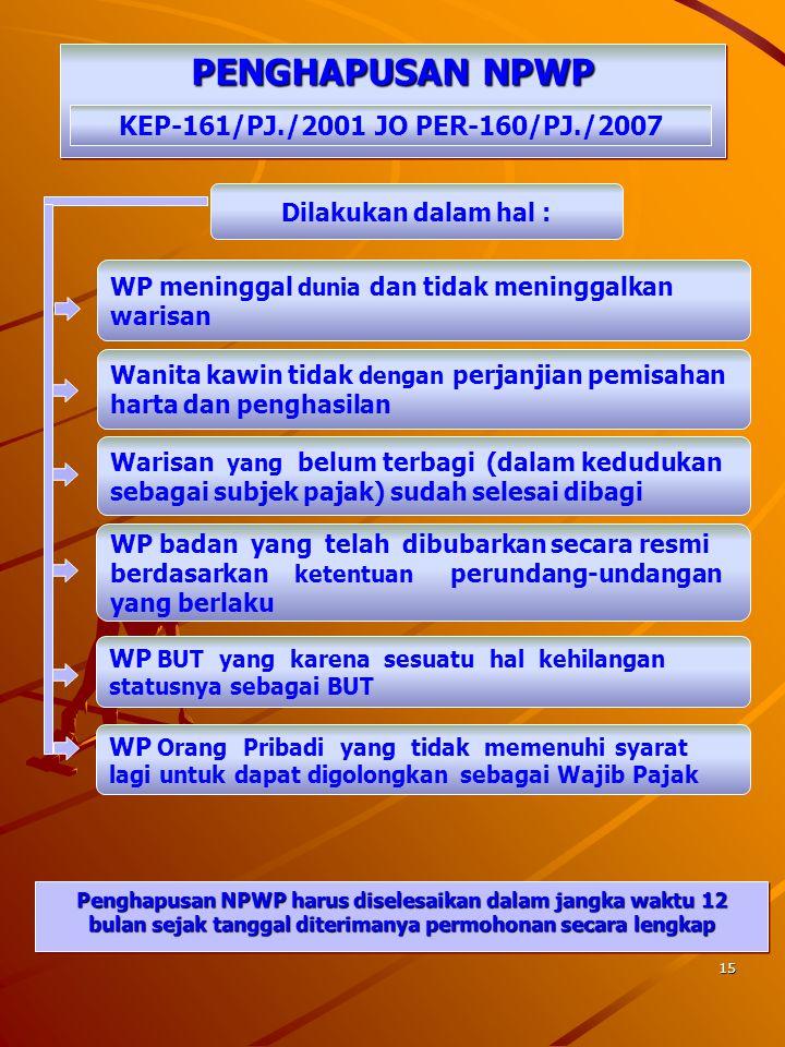 PENGHAPUSAN NPWP KEP-161/PJ./2001 JO PER-160/PJ./2007
