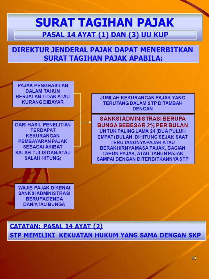 SURAT TAGIHAN PAJAK PASAL 14 AYAT (1) DAN (3) UU KUP