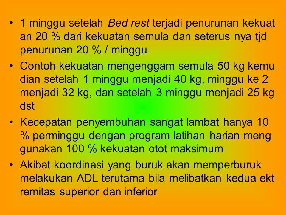 1 minggu setelah Bed rest terjadi penurunan kekuat an 20 % dari kekuatan semula dan seterus nya tjd penurunan 20 % / minggu