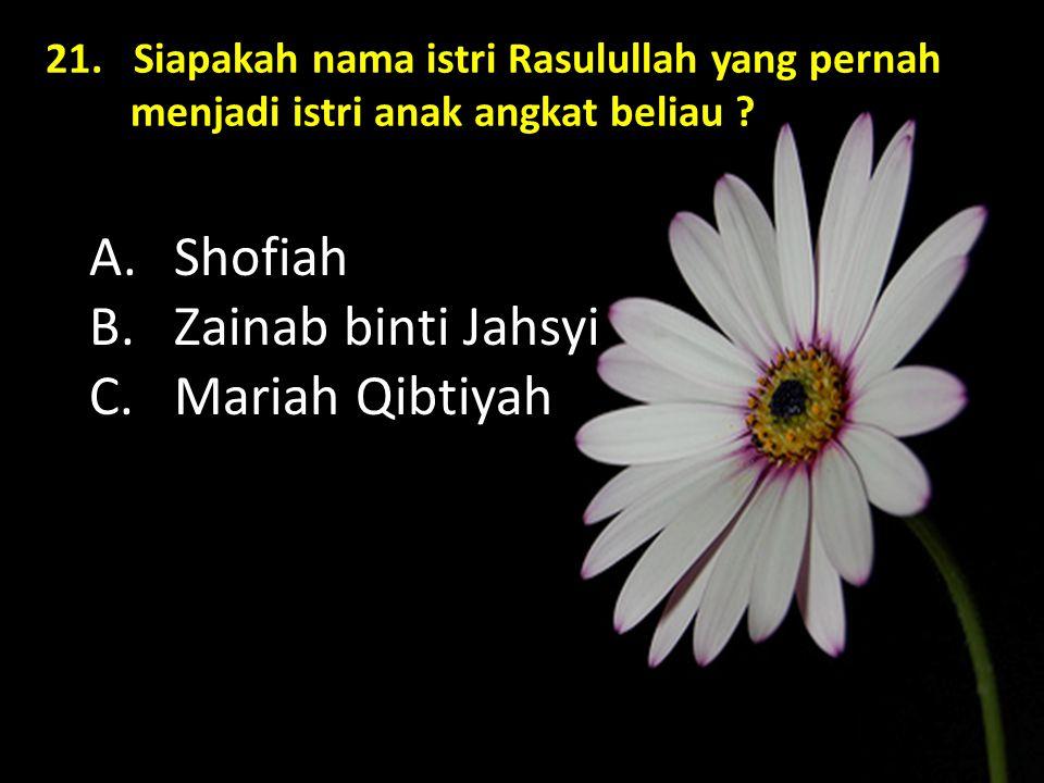 Shofiah Zainab binti Jahsyi Mariah Qibtiyah
