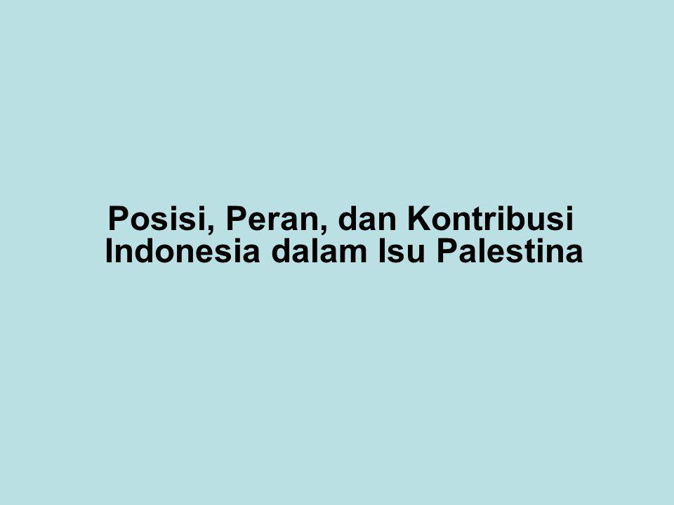 Posisi, Peran, dan Kontribusi Indonesia dalam Isu Palestina