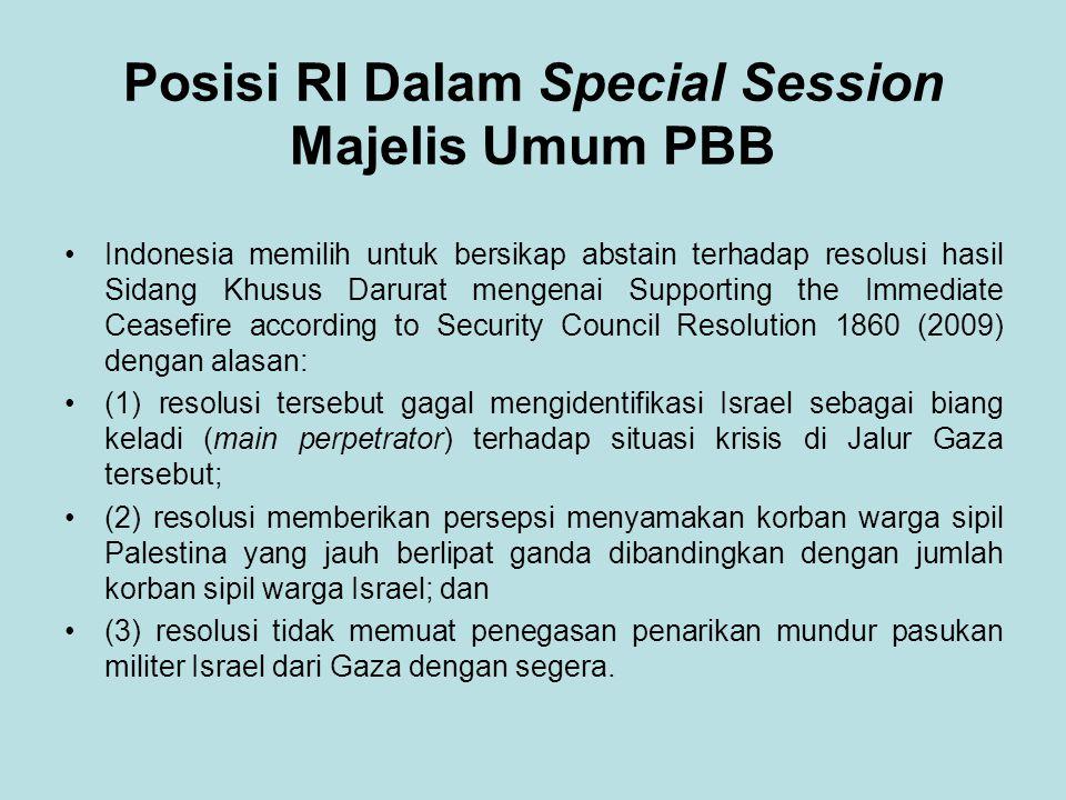 Posisi RI Dalam Special Session Majelis Umum PBB