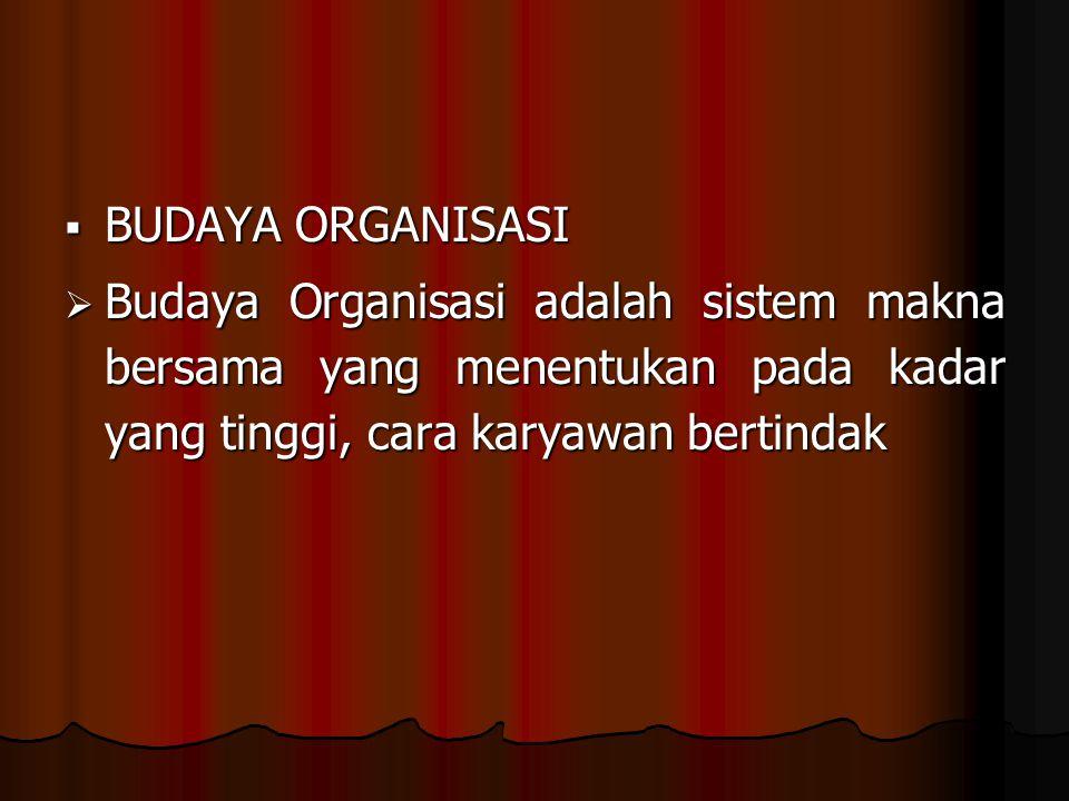 BUDAYA ORGANISASI Budaya Organisasi adalah sistem makna bersama yang menentukan pada kadar yang tinggi, cara karyawan bertindak.