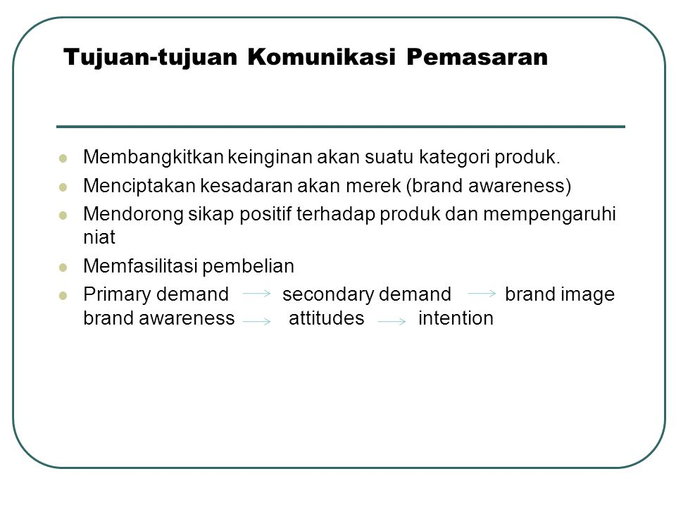 Tujuan-tujuan Komunikasi Pemasaran