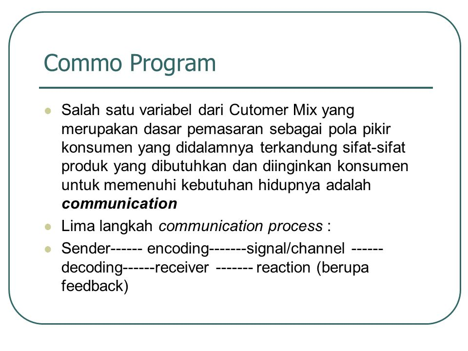 Commo Program