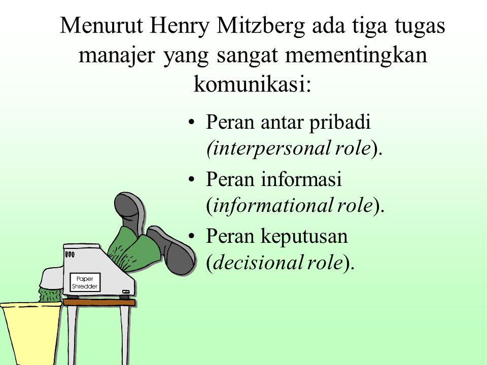 Menurut Henry Mitzberg ada tiga tugas manajer yang sangat mementingkan komunikasi: