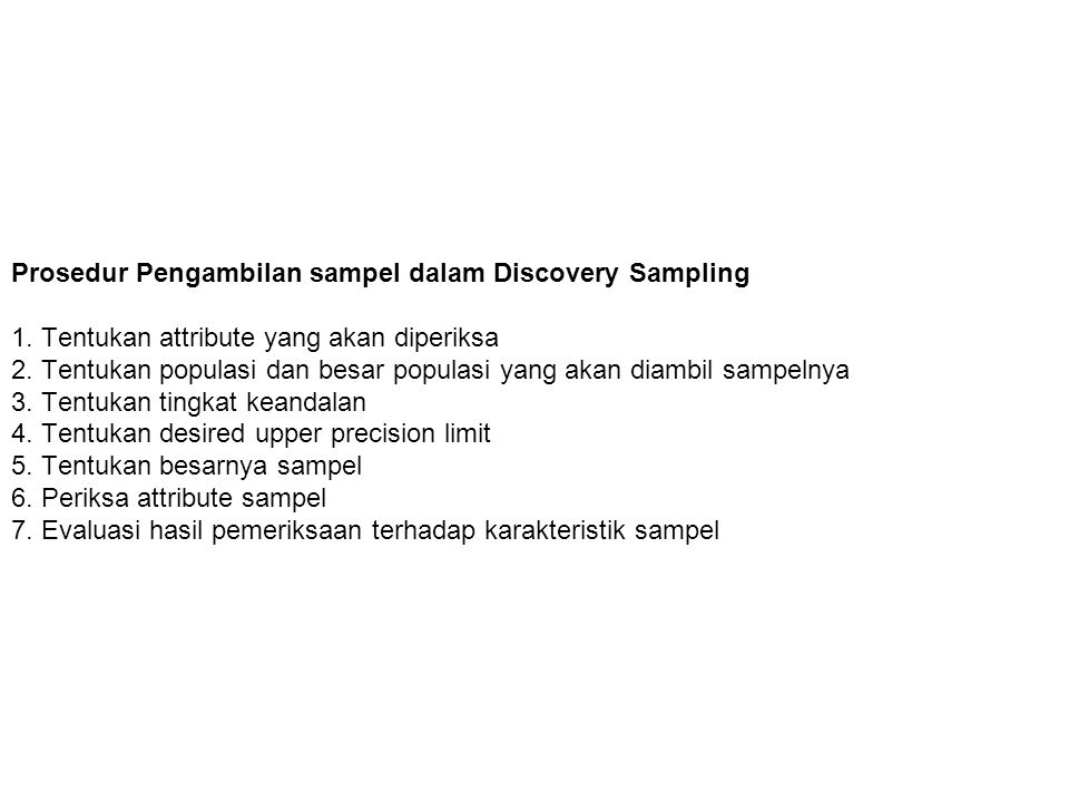 Prosedur Pengambilan sampel dalam Discovery Sampling 1