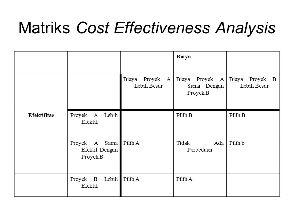 Matriks Cost Effectiveness Analysis