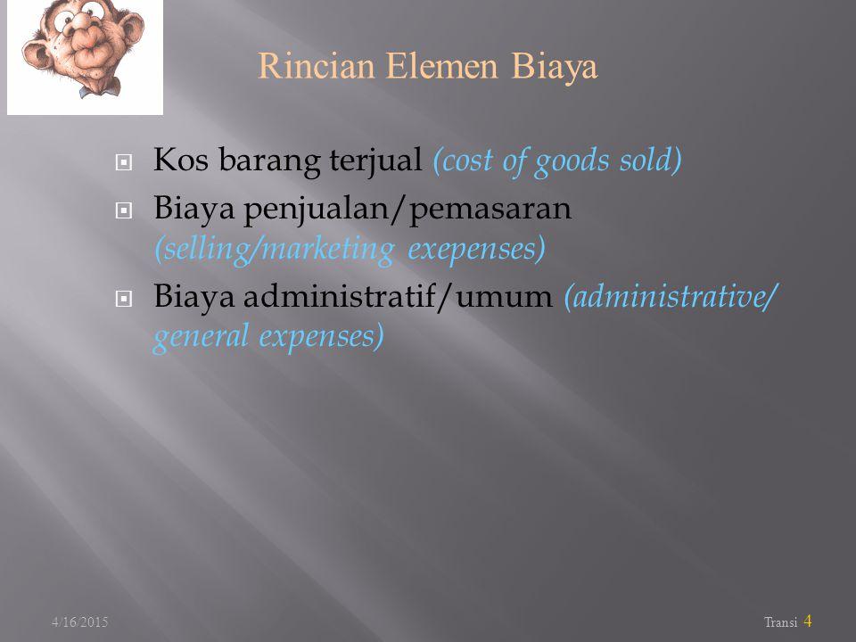 Rincian Elemen Biaya Kos barang terjual (cost of goods sold)