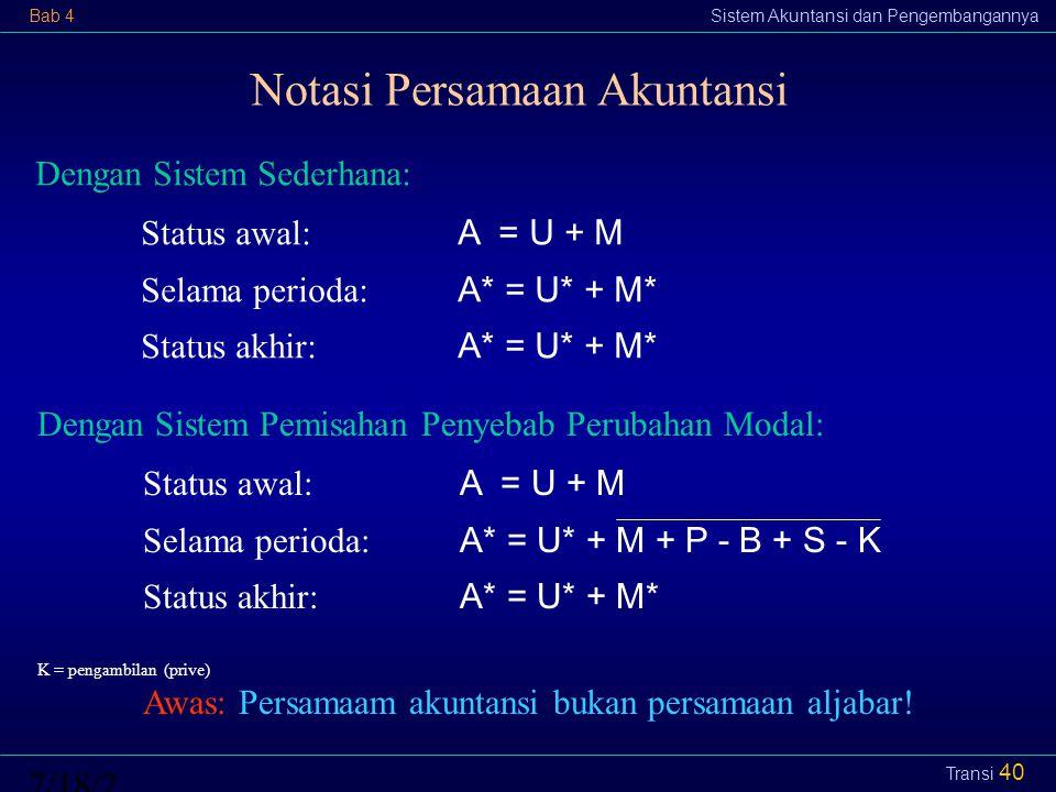 Notasi Persamaan Akuntansi