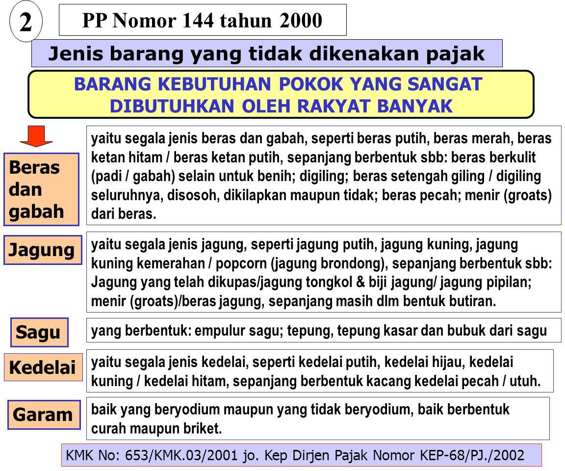 2 PP Nomor 144 tahun 2000 Jenis barang yang tidak dikenakan pajak