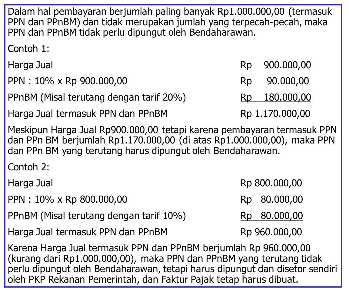 Dalam hal pembayaran berjumlah paling banyak Rp1. 000