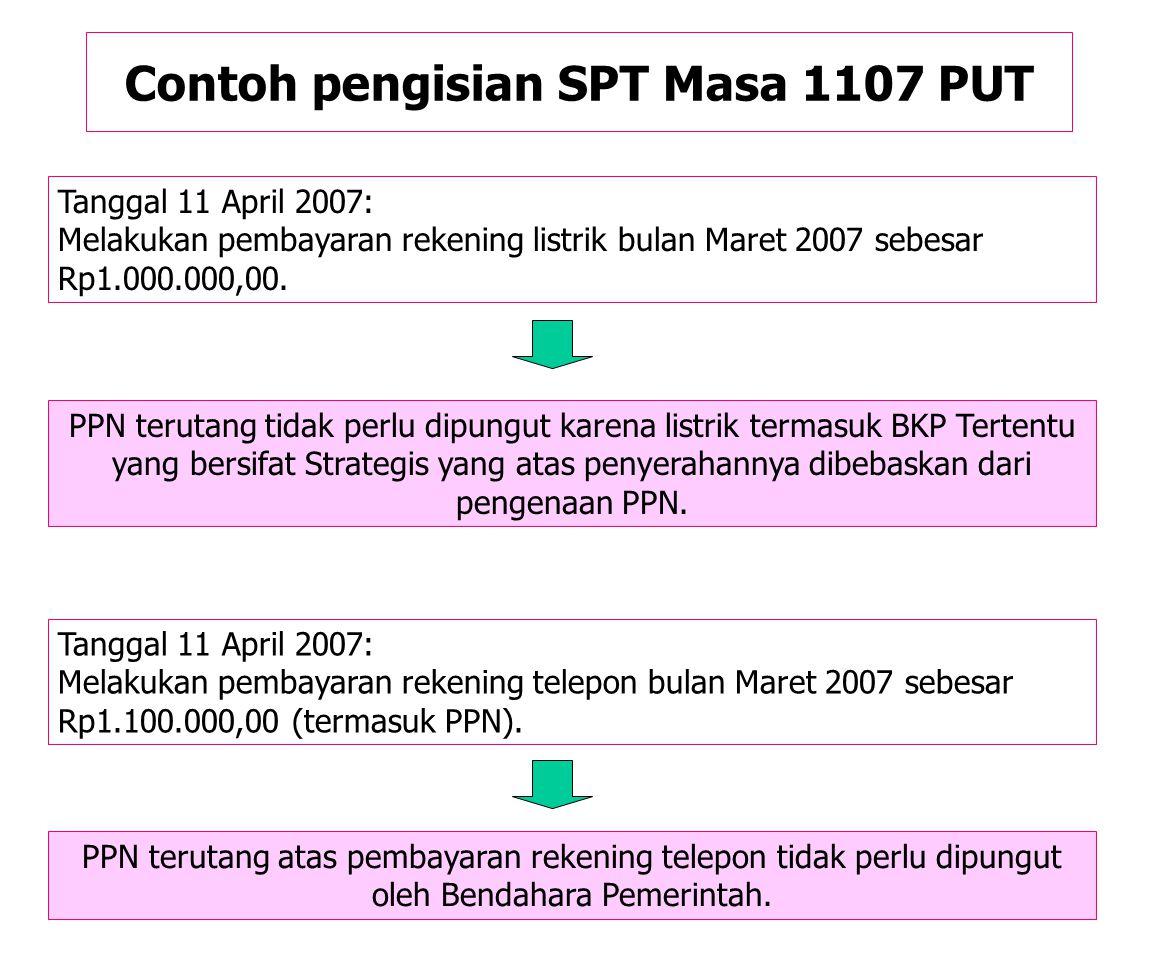 Contoh pengisian SPT Masa 1107 PUT