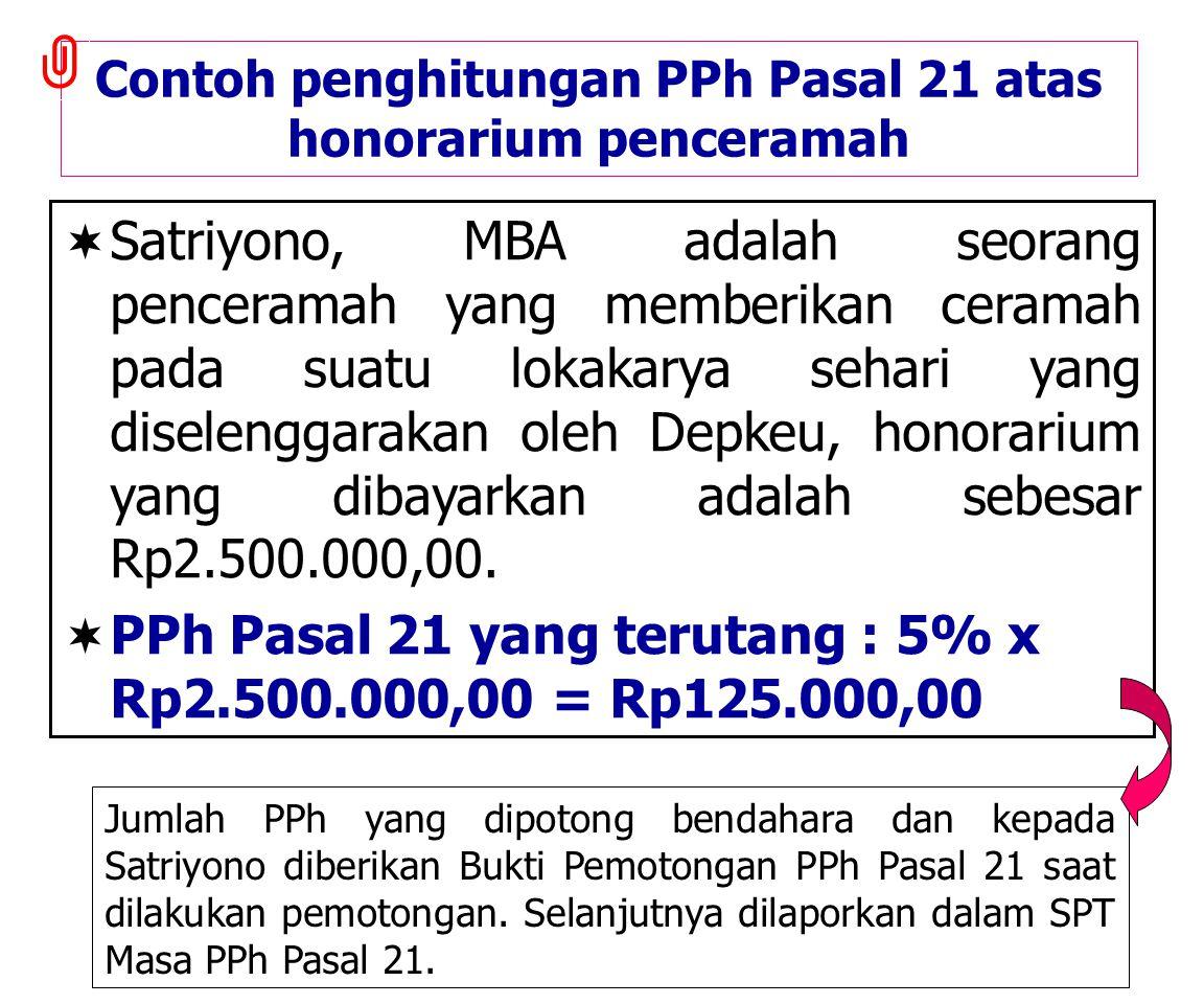 Contoh penghitungan PPh Pasal 21 atas honorarium penceramah