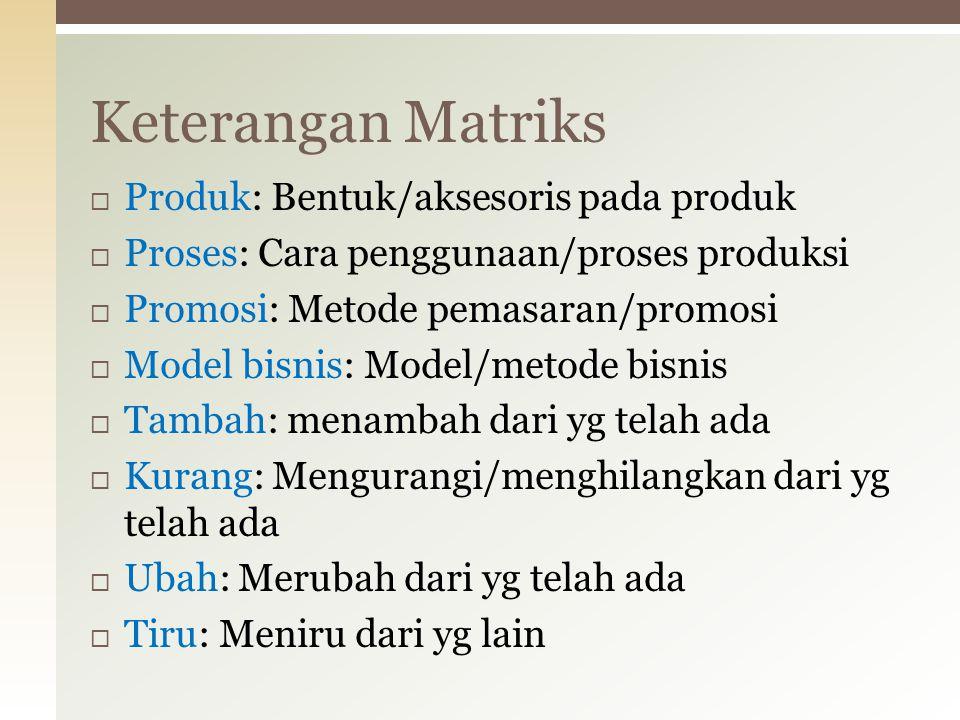 Keterangan Matriks Produk: Bentuk/aksesoris pada produk