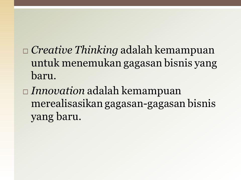 Creative Thinking adalah kemampuan untuk menemukan gagasan bisnis yang baru.