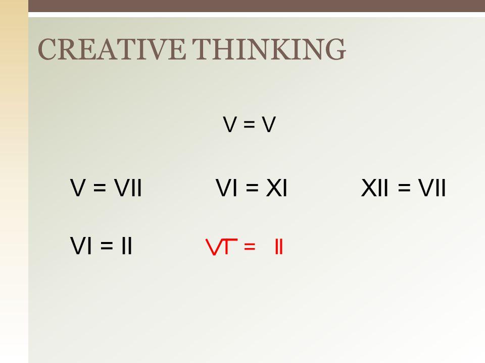 CREATIVE THINKING V = V V = VII VI = XI XII = VII VI = II I I = I I