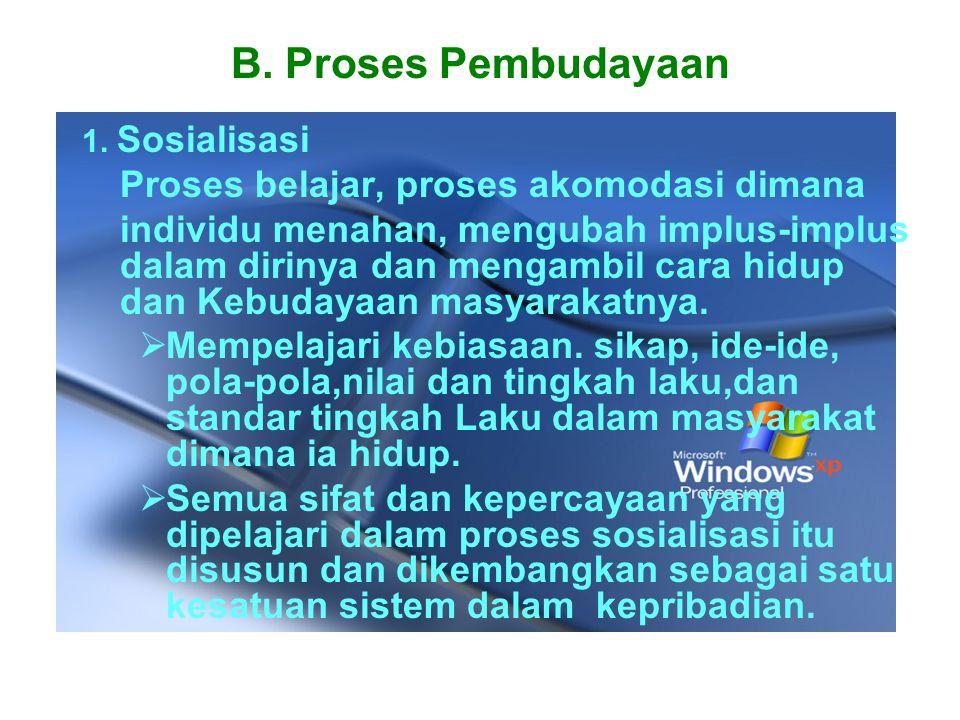 B. Proses Pembudayaan Proses belajar, proses akomodasi dimana