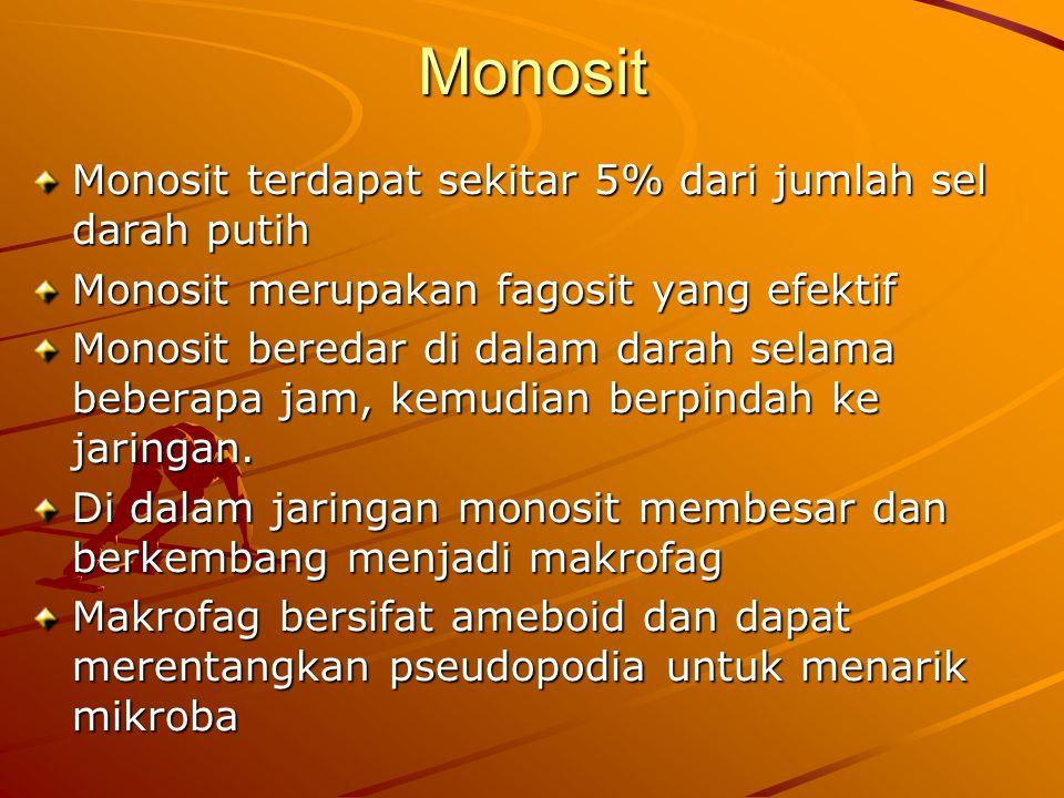 Monosit Monosit terdapat sekitar 5% dari jumlah sel darah putih