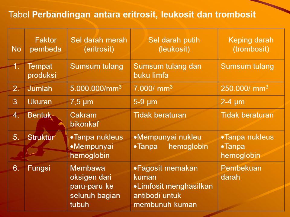 Tabel Perbandingan antara eritrosit, leukosit dan trombosit
