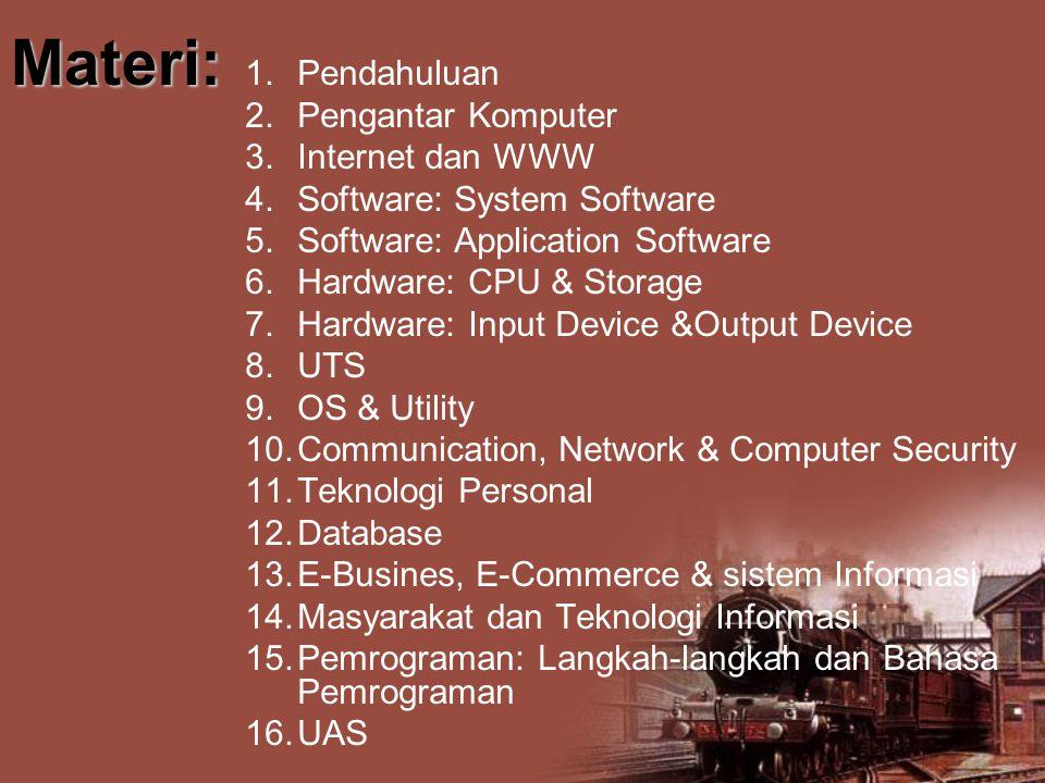 Materi: Pendahuluan Pengantar Komputer Internet dan WWW