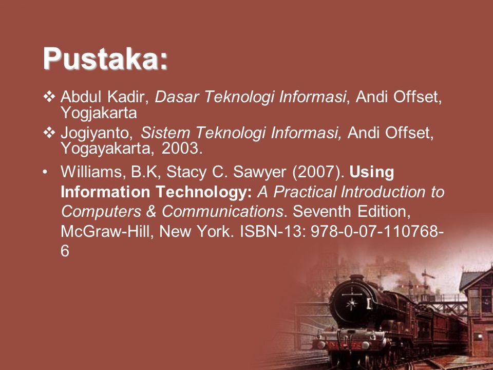 Pustaka: Abdul Kadir, Dasar Teknologi Informasi, Andi Offset, Yogjakarta. Jogiyanto, Sistem Teknologi Informasi, Andi Offset, Yogayakarta, 2003.