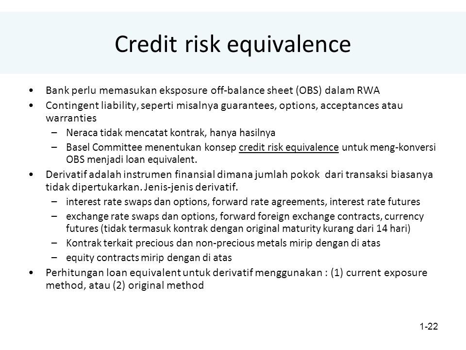 Credit risk equivalence