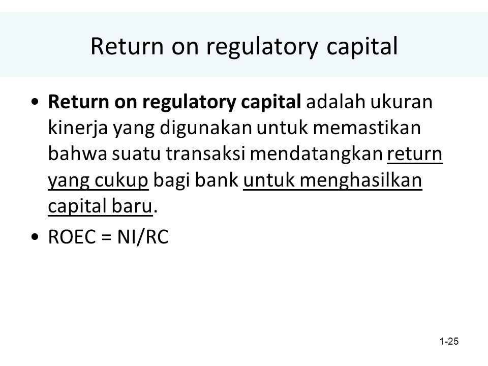 Return on regulatory capital