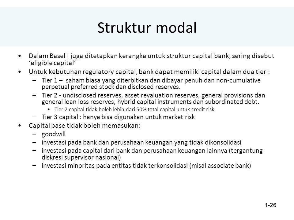 Struktur modal Dalam Basel I juga ditetapkan kerangka untuk struktur capital bank, sering disebut 'eligible capital'