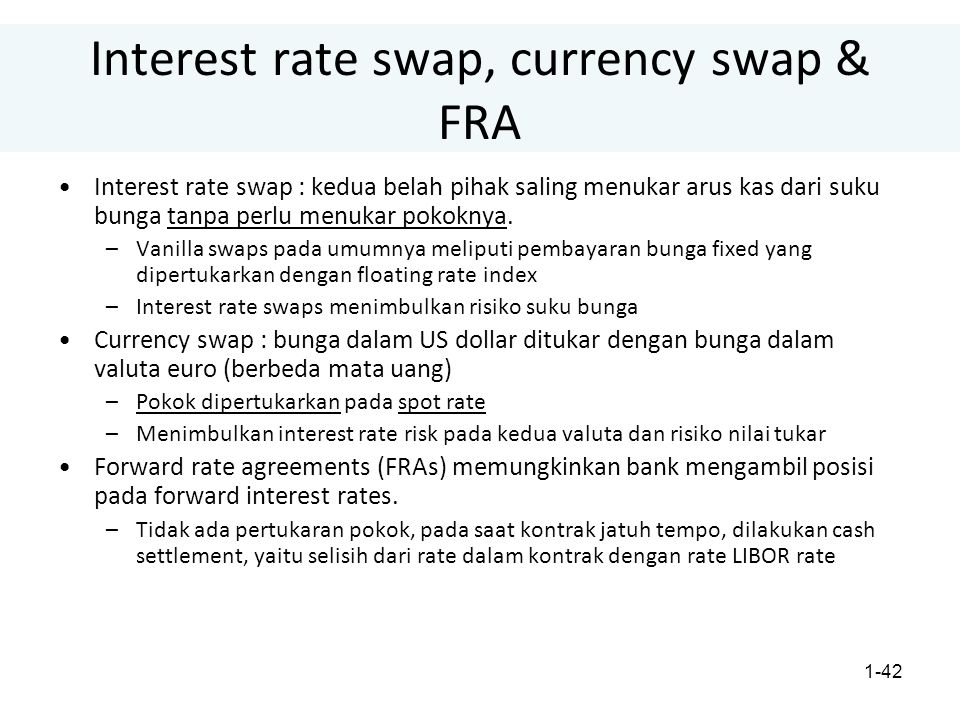 Interest rate swap, currency swap & FRA