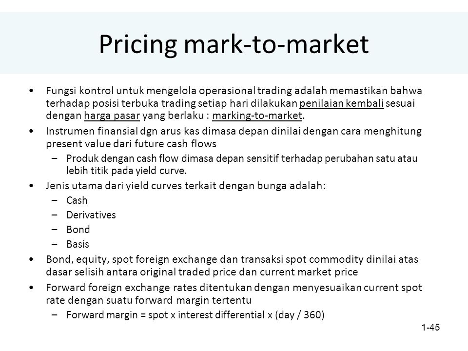 Pricing mark-to-market
