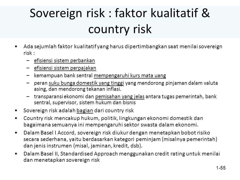 Sovereign risk : faktor kualitatif & country risk