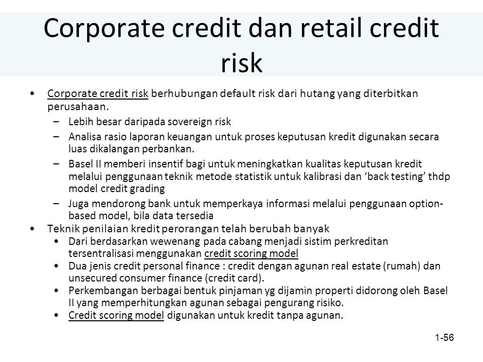 Corporate credit dan retail credit risk