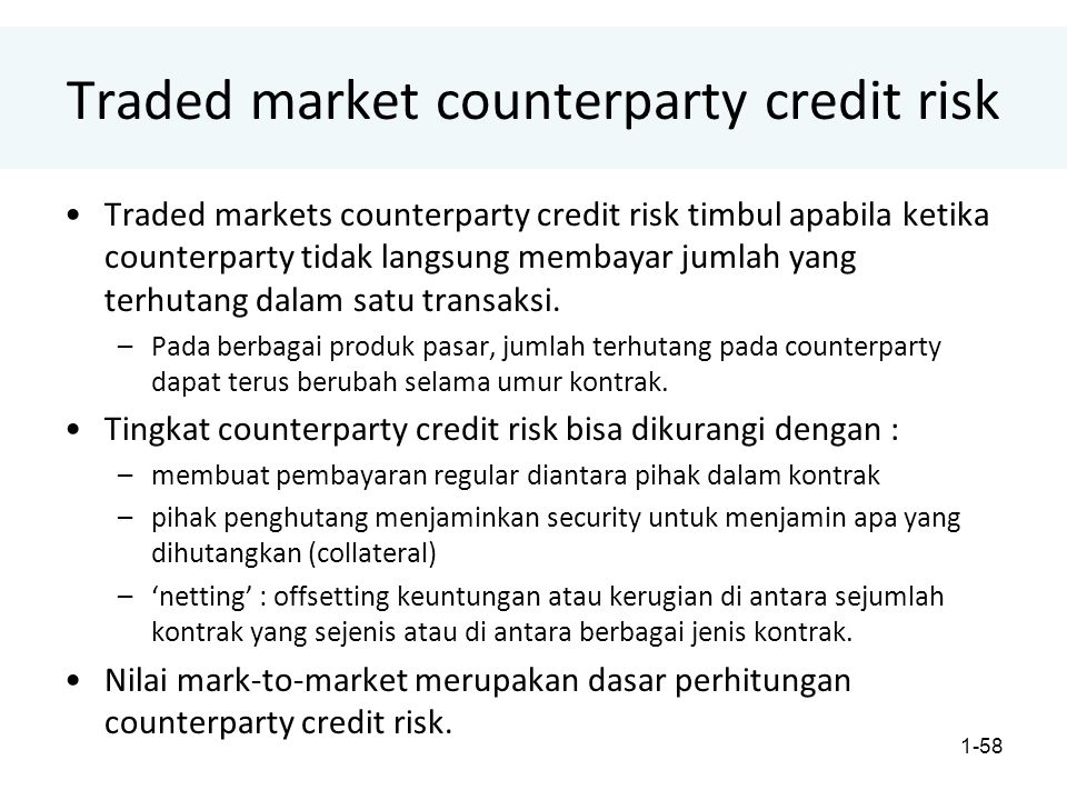 Traded market counterparty credit risk